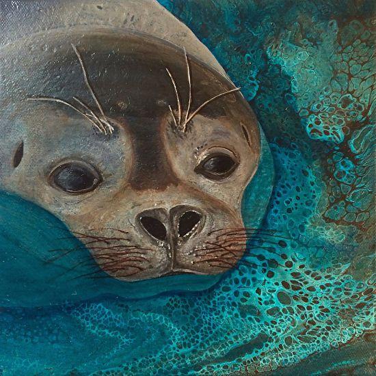 Just A Peek by Kim McLennan Acrylic ~ 8 x 8
