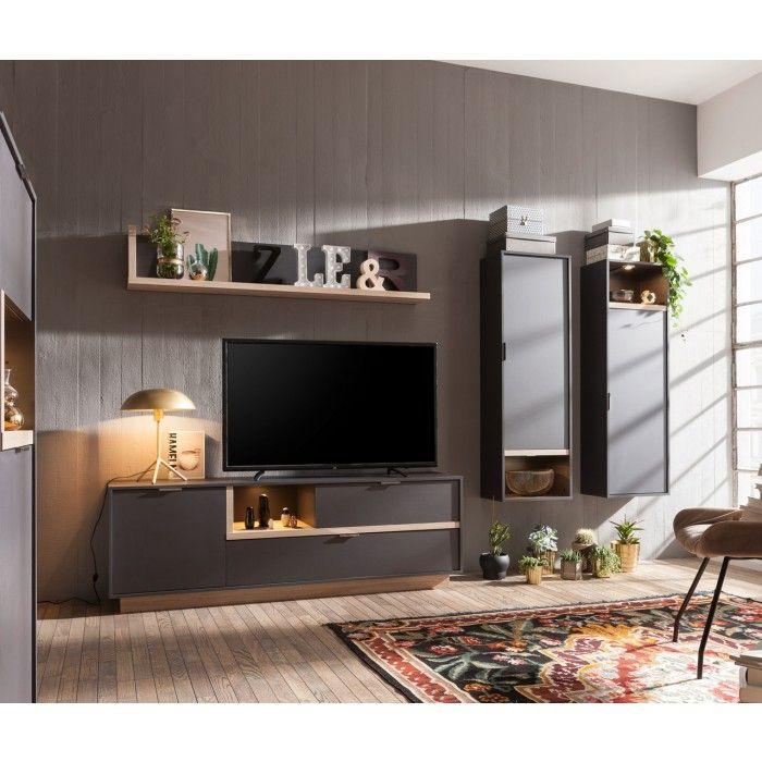 Wohnwand MY ELL mit LED-Beleuchtung - Modern, aufgeräumt und mit - wohnwand mit kamin