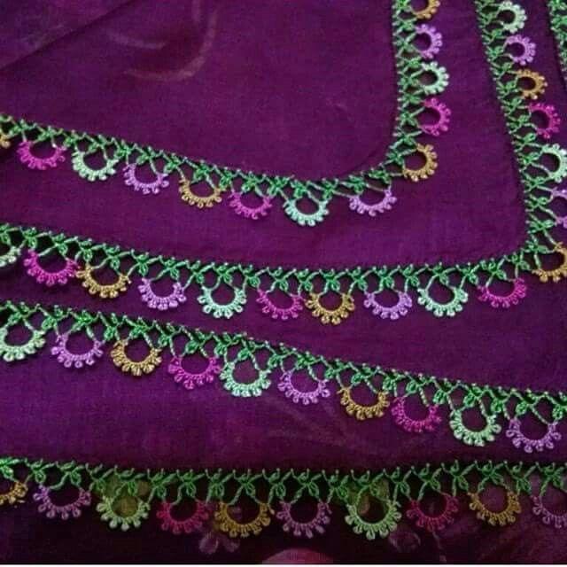 "Alıntı [ ""Alıntı Gorgeous Turkish oya needlework on this eggplant-colored scarf"" ] #<br/> # #Needlework,<br/> # #Scarfs<br/>"