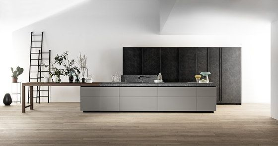 Genius Loci | in matt glass and Cardoso stone drawer by Valcucine | Fitted kitchens