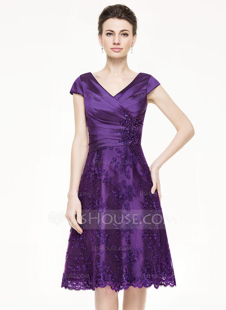 A-Line/Princess V-neck Knee-Length Ruffle Beading Sequins Zipper Up at Side Cap Straps Sleeveless No 2015 Grape Spring Summer Fall General Plus Taffeta Lace Mother of the Bride Dress