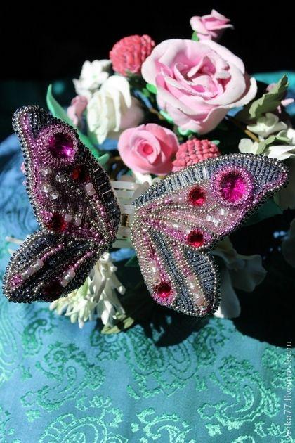 """Краб """" Бабочка"""" - фуксия,ярко-розовый,бабочка,украшение для волос,Украшение ручной работы"""