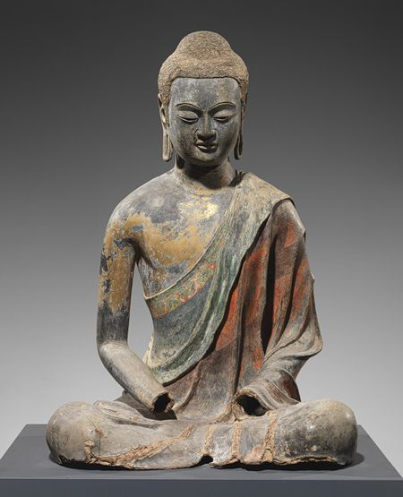 Buddha, probably Amitabha (Amituo), Tang dynasty (618–906), early 7th century  China  Dry lacquer with traces of gilt and pigment