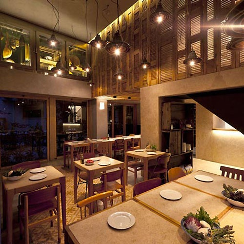 Modern Restaurant Design With Village Interior Theme, Can Be Found In  Cappana Restaurant, Greece. Restaurant Offering A Variety Typical It.