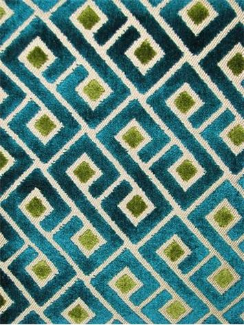"Tether Teal Velvet jacquard fabric from Richloom fabric. Goemetric Greek Key pattern fabric. Thick and soft. Perfect for upholstery, drapery, top of the bed or any home décor fabric project. Contents 56% Polyester/44% Rayon. Repeat; V 4.5"" x H 5.75"". 55"" wide"