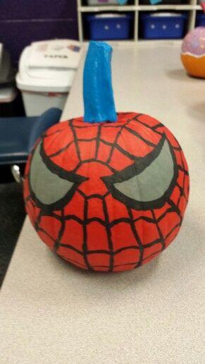 Spiderman pumpkin I painted!