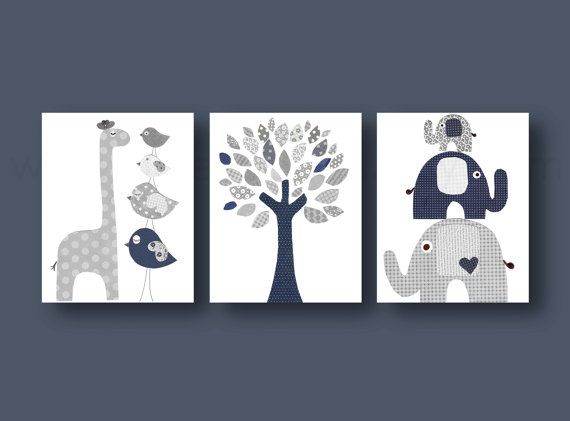 Kids wall art Nursery art print baby nursery decor nursery print Kids art navy gray elephant giraffe bird Tree Set of three prints on Etsy, $42.00