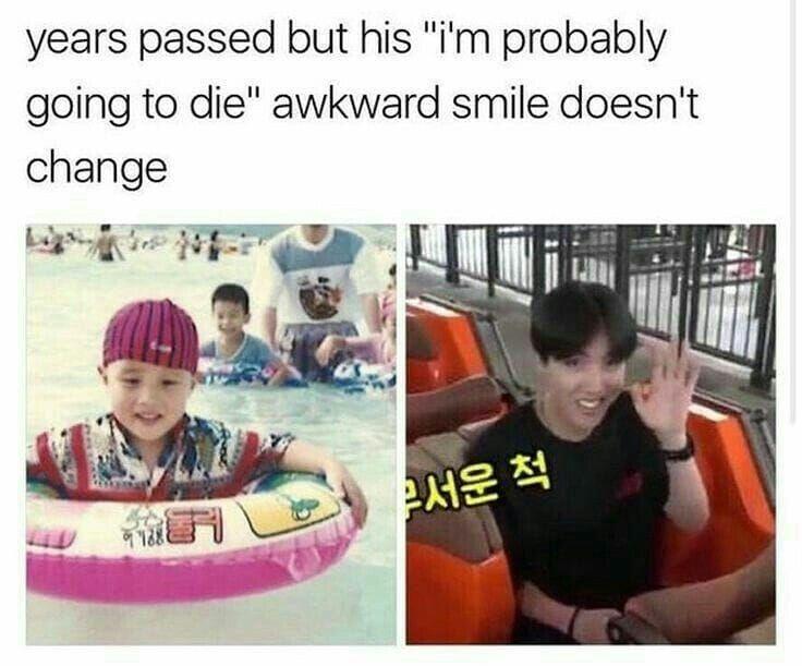 His Awkward Smile Never Change Jhope Bangtanmemes Bangtanboys Hoseok Kimtaehyung Namjoon Namjin Jin Mommyj Bts Memes Hilarious Bts Kpop Memes Bts