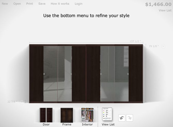 IKEA PAX wardrobe planner -- doors in Nexus black-brown ($89.50 each) + Vikedal mirror ($39.50 each). http://www.ikea.com/us/en/catalog/categories/departments/bedroom/tools/planner_pax/