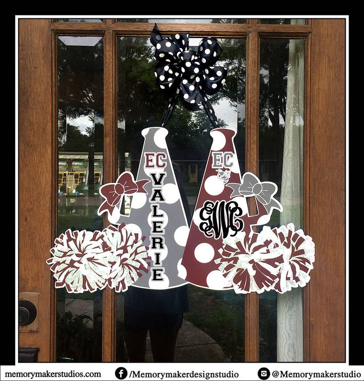 Cheer Camp Door Hanger, Cheerleader door hanger, Cheer door wreath, Megaphone door hanger, Pom Pom door hanger, Personalized cheerleading do by MemoryMakerStudio on Etsy