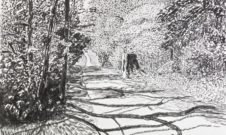 Detail from David Hockney's Woldgate, 26 May 2013. Photograph: © David Hockney, courtesy Annely Juda Fine Art, London Photograph: (c) David Hockney, courtesy Annely Juda Fine Art, London