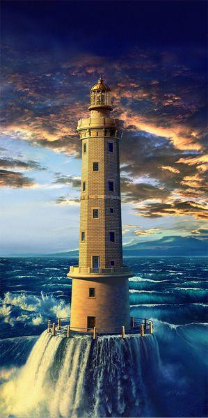 Golden #Lighthouse von hpkolb http://galerie.chip.de/k/digiart-collagen/golden_lighthouse/1100071/