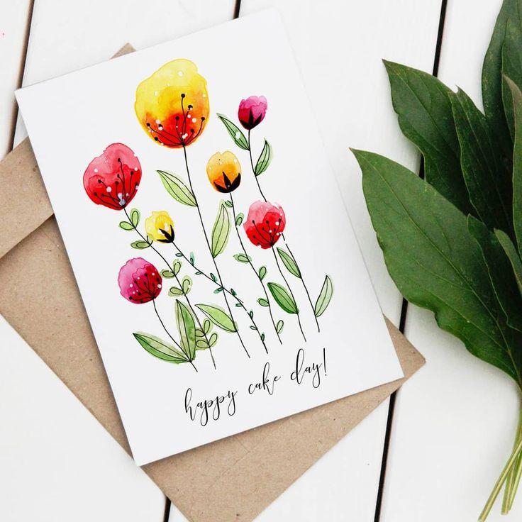 Открытка своими руками акварелью маме на день рождения, открытки отправить