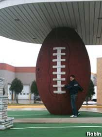 Green Bay, Wisconsin: Huge Football - A large football standing on end appears to support the roof...   - photo by Robin
