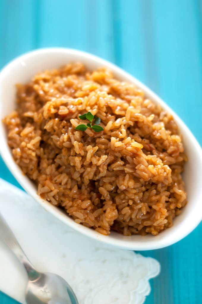 Kid-Friendly Spanish Brown Rice - just 5 ingredients (omit the oil for Phase 1).
