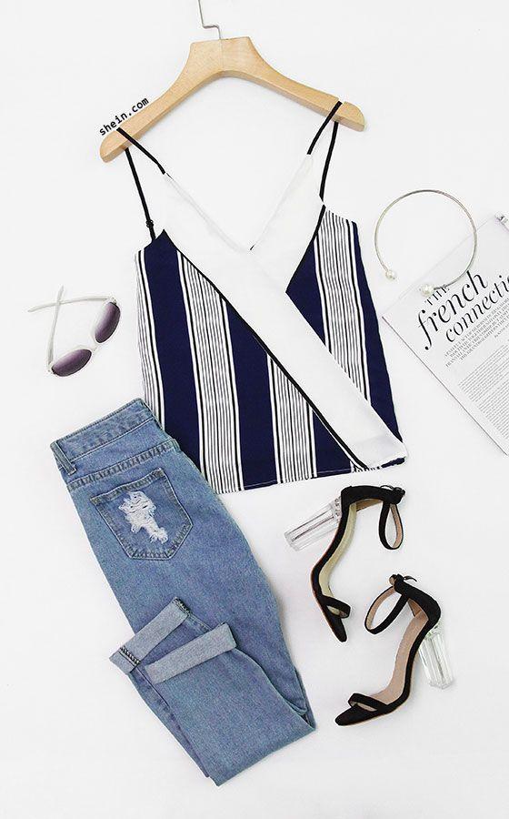 Vertical Striped Cami Top
