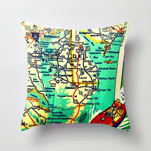 Map Pillow Delmarva Peninsula Delaware Coast Bethany Ocean City Rehoboth Beach House Aqua Turquoise Color Decorative Pillow Cover Retro Map by VintageBeachMaps on Etsy https://www.etsy.com/listing/193926365/map-pillow-delmarva-peninsula-delaware