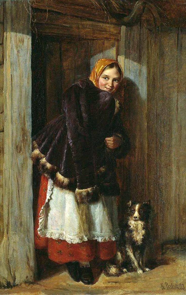 Nikolai Ephimovich Rachkov (1825-1895) At the Gate, oil on canvas,  57.7 x 37.7 cm, Tretyakov Gallery