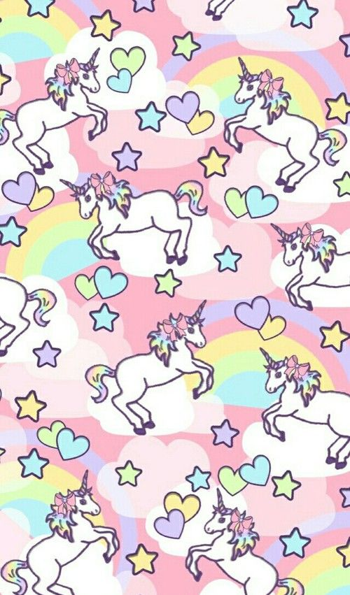 Unicornio fantasia kawaii colores pastel arco iris animal
