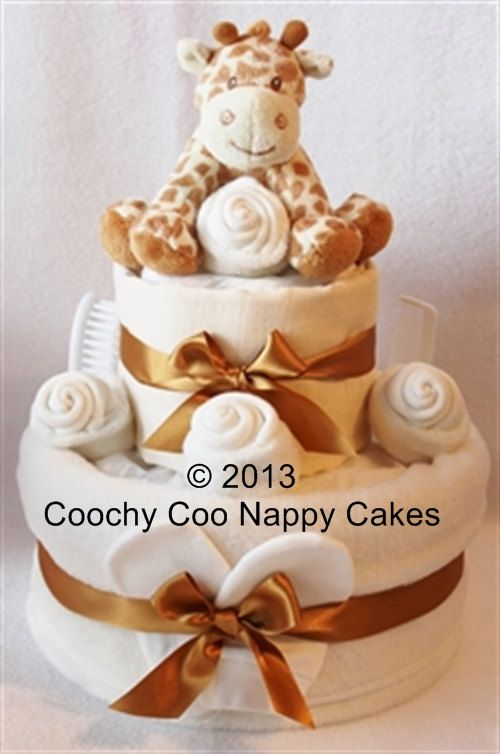 Two tier Nappy cake with giraffe. Neutral by CoochyCooNappyCakes, £45.00