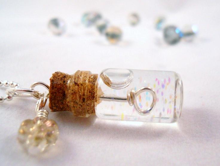 Tiny Bubble Soap Glass Bottle Necklace