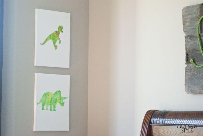 VINTAGE ROMANCE STYLE: Knock it off: World Market Inspired Dinosaur Watercolor Canvas Art