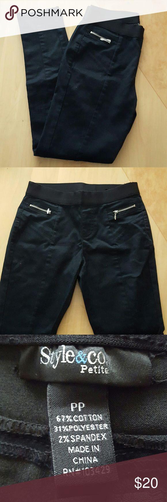 Sleek Black Petite Leggings Sleek black leggings from Style & Co. Size PP. Petite small. Worn once or twice. Style & Co Pants Leggings