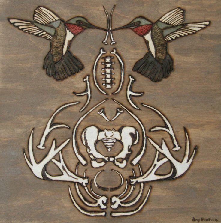 """The Stillness That Must Part"" - Amy Ventura  pyrography wood engraving hummingbird bones   woodburning, engraving, art, artwork, brown,  wood, texture, nature, patterns, brown, plants, hummingbird"