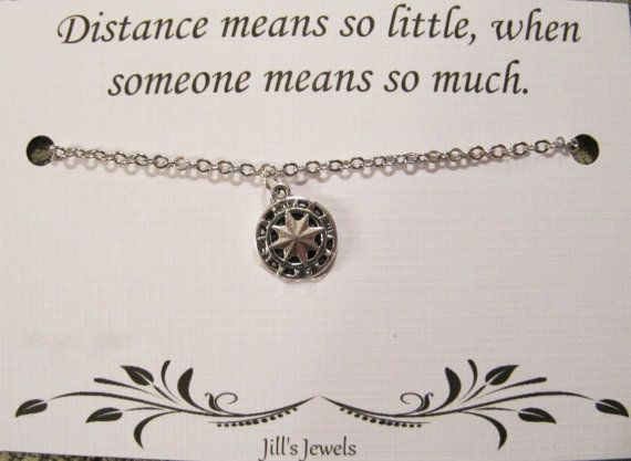 Longue Distance amitié collier boussole par JillsJewels4You