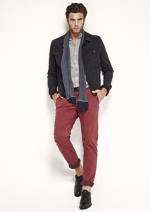 v tements homme veste en jean et pantalon rouge ss15 mensfashion men 39 s fashion pinterest
