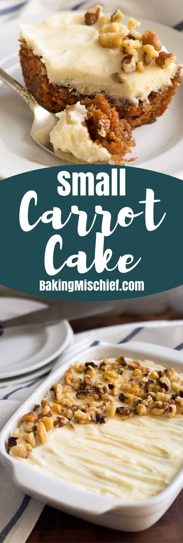 This incredibly easy Small Carrot Cake With Cream Cheese Frosting is a perfect replica of my mom's potluck favorite! From BakingMischief.com   Small-batch Dessert   Mini Cake  