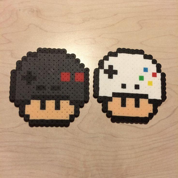 NES/Xbox controller mushrooms perler beads by sleepystitch