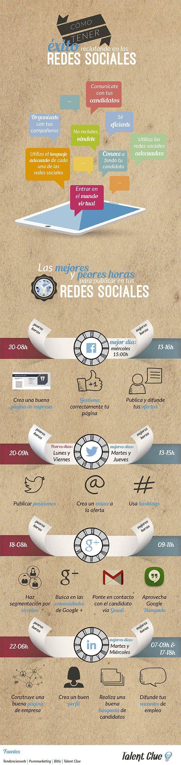 Cómo Tener Éxito Reclutando en las Redes Sociales #infografia #socialmedia #empleo