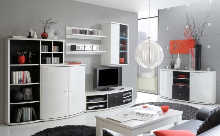 Design Wohnwand Anbauwand Weiß Grau ~ Design Wohnwand Anbauwand Weis Grau  Rosella WohnwandAnbauwand I wei