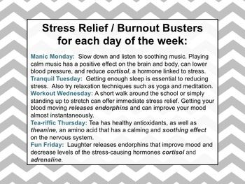 """COUNSELORS """"STRESS BUSTERS WEEK"""" FOR FACULTY AND STAFF. MORALE BOOSTER - TeachersPayTeachers.com"""