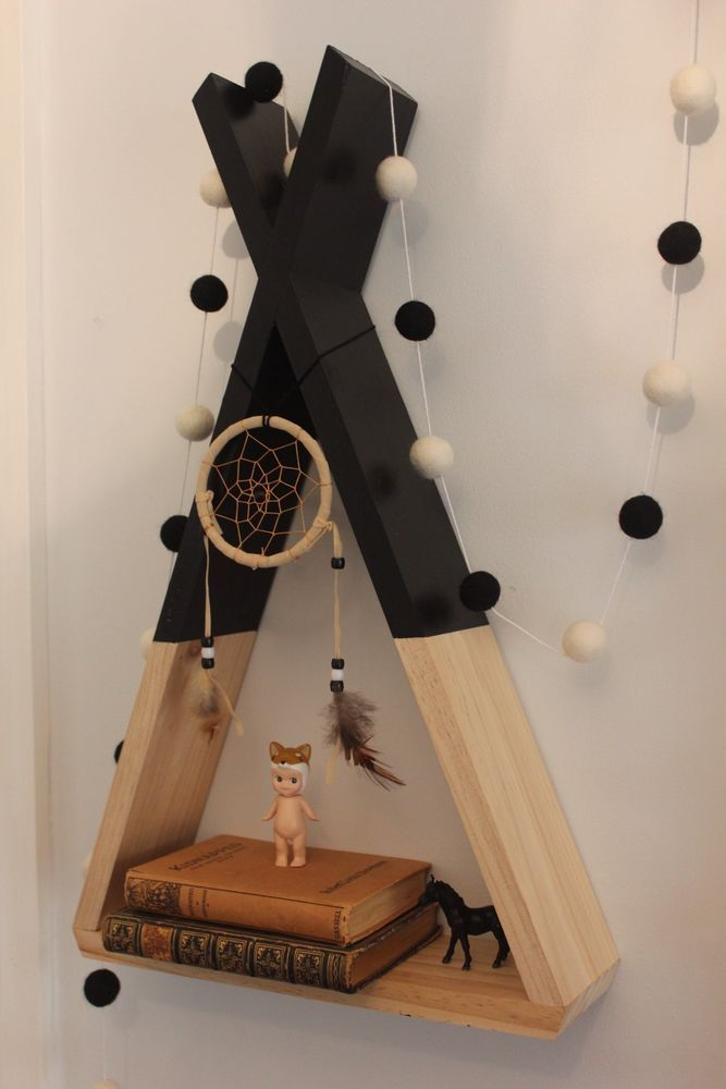 teepee kids shelf nursery decor kids room decor wall decor woodland shadow box. beautiful ideas. Home Design Ideas