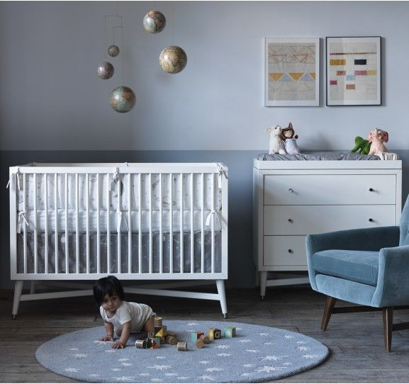 Love the outer space trend in nurseries. Dwell has a new Galaxy line that is really cute!