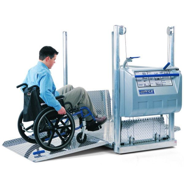 Mobilift CX – Portable Wheelchair Lift Handi-Ramp's portable stage lift is a multipurpose, portable, vertical platform lifting device that provides access to school stages, outdoor bleachers, and elevated platforms for persons who use wheelchairs, scooters or can not access stairways.