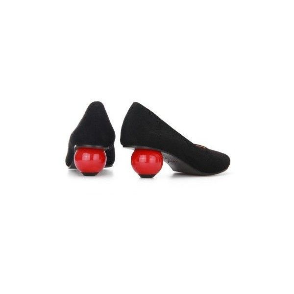 Yoins Suede Red Globular Heeled Shoes in Black (1,375 THB) ❤ liked on Polyvore featuring shoes, pumps, low black pumps, red suede pumps, black court shoes, black shoes and synthetic shoes