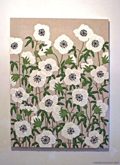 Embroidered art. White anemones. [by Yumiko Higuchi]