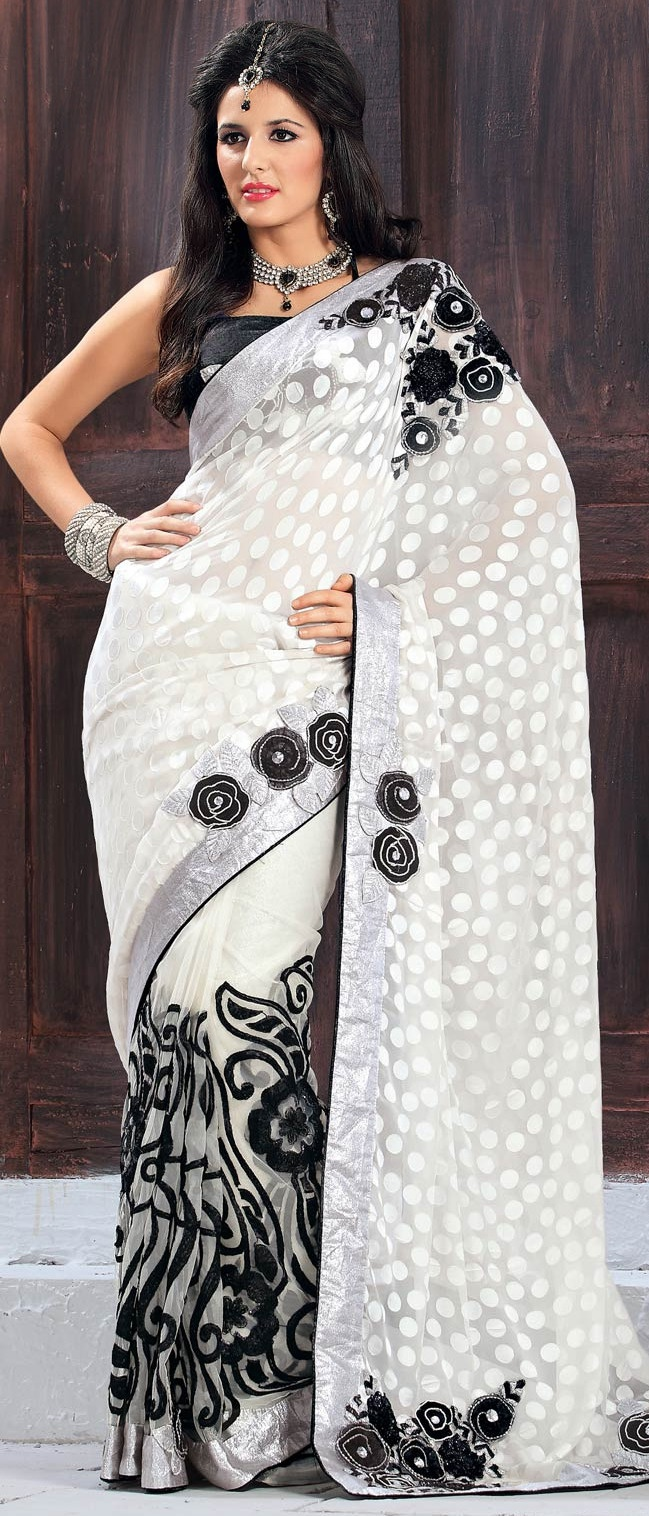 Off #White Brasso Faux Georgette and Net #Saree with Blouse @ $109.93