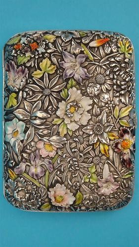 Stunning quality chased silver with applied enamel floral Chinese export cigarette case - a fine piece of adornment!