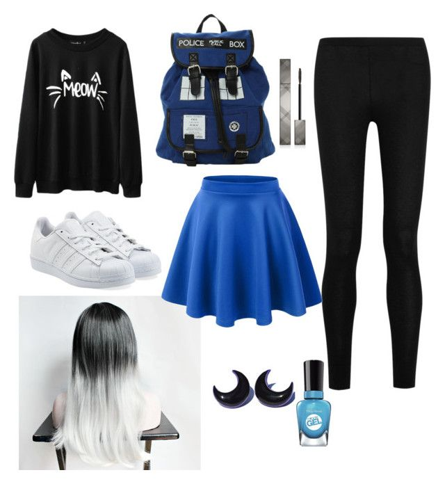 Black and blue by aninditaarr on Polyvore featuring polyvore, fashion, style, Donna Karan, adidas Originals, Burberry, Sally Hansen, black and Blue