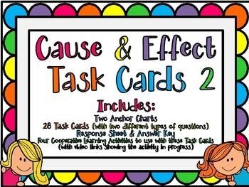 EDITABLE Cause & Effect Task Cards 2 with Cooperative Learning Activities and FREE Anchor Charts in PREVIEW