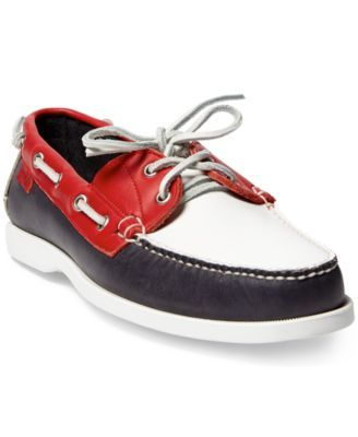 Polo Ralph Lauren Men's Team USA Ceremony Boat Shoes $174.99 Part of Ralph Lauren's collection celebrating the 2016 U.S. Olympic Team, this American-made Polo Ralph Lauren boat shoe is designed in patriotic red, white, and blue for the athletes' closing ceremony uniforms.