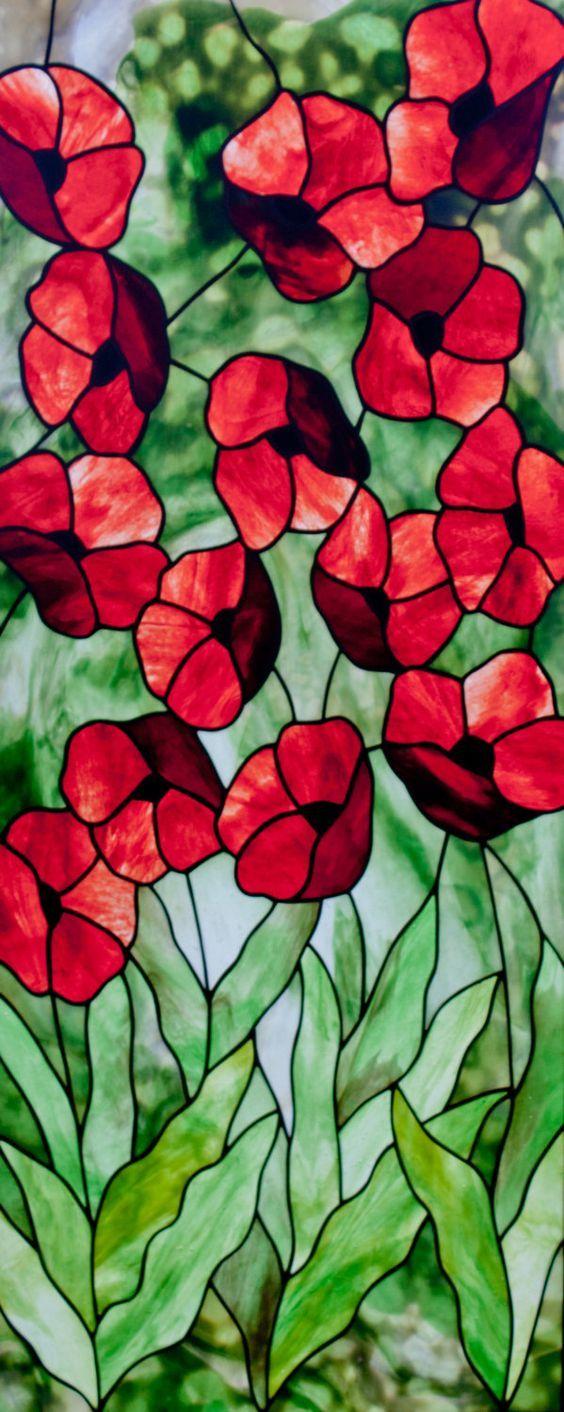 Patrón amapolas del vitral.  © David Kennedy diseños.  por KennedyStainedGlass en Etsy