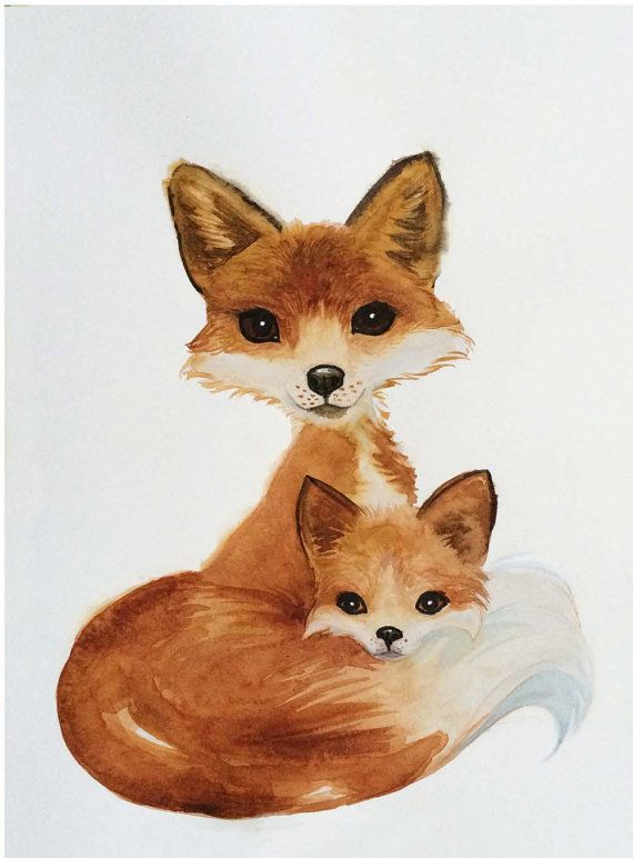 Fox Art, Mom & Cub Fox Art, Nursery Print, Birthday, Gift, Fox, Woodland Nursery Art, Kids Art, Art Print, Brown and White, Watercolor Fox