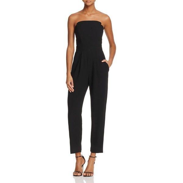 Jill Jill Stuart Strapless Jumpsuit ($425) ❤ liked on Polyvore featuring jumpsuits, black, strapless jumpsuit, jump suit and jill by jill stuart
