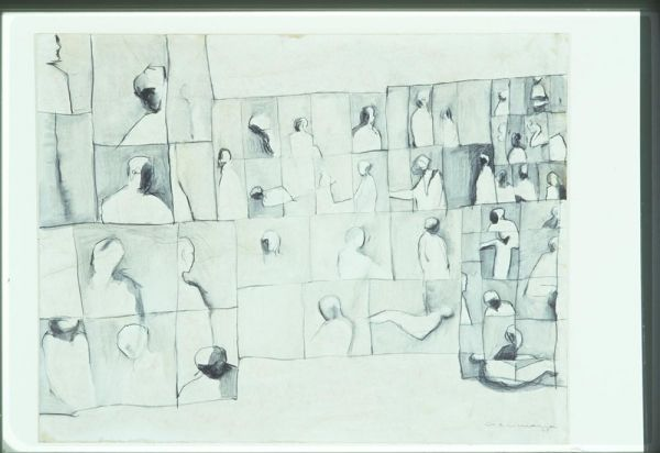 Large Icon for 1968, 1968, Richard Ciccimarra, crayon and wash drawing on wove paper, laid down on card, 43.2 x 55.8 cm., Victoria, British Columbia, Canada. Art Gallery of Greater Victoria
