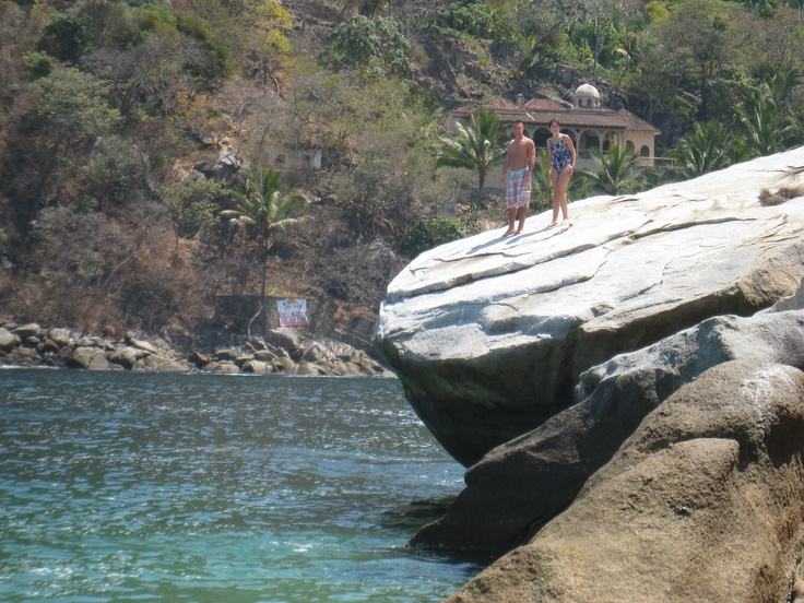 Jumped off of rocks into the ocean...south of Puerto Vallarta, Mexico.
